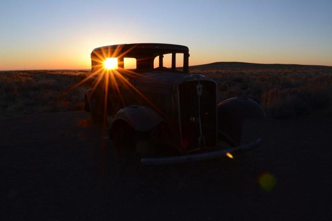 Route 66 Monument Sunset.JPG